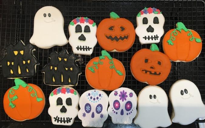 Ghosts Sugar Skulls Pupkins Houses